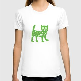 Green cat design, green cat pattern T-shirt