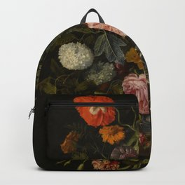 """Cornelis Kick """"A still life with parrot tulips, poppies, roses, snow balls, and other flowers"""" Backpack"""