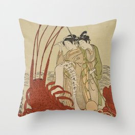Lovers and a literate octopus by Ippitsusai Buncho Throw Pillow