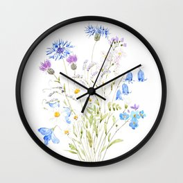 white purple and blue wildflowers  Wall Clock