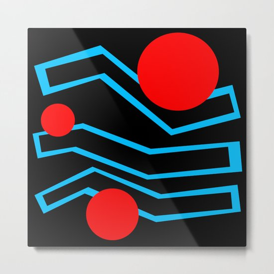 Black Lines And Red Dots Metal Print