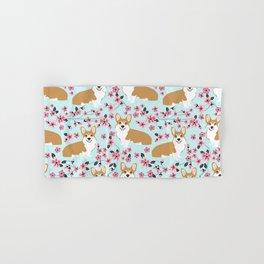 Corgi cherry blossom florals dog must have cute welsh corgis gifts pure breed Hand & Bath Towel