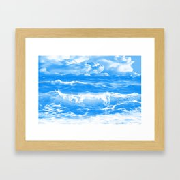stormy sea waves reacwb Framed Art Print