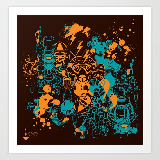 Dream Factory Orange and Blue Art Print