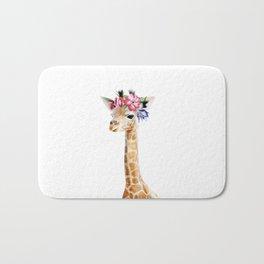 Baby Giraffe with Flower Crown Bath Mat