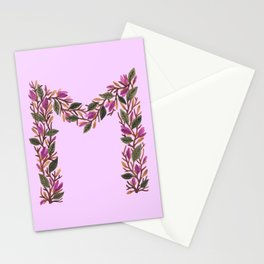 Leafy Letter M Stationery Cards