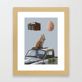 The fox and one egg Framed Art Print