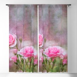 Pink roses with textures Blackout Curtain