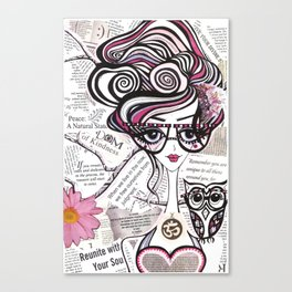 Positive Art and Girls with Owls Art Decor Collection: Emma Canvas Print