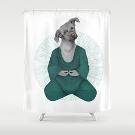 Almost meditating dog 3 Shower Curtain