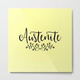 Jane Austen Floral Austenite Metal Print