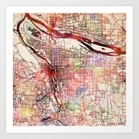 portland Art Prints featuring Portland by MapMapMaps.Watercolors