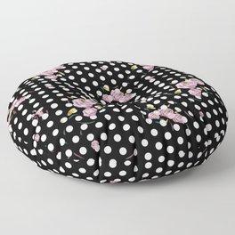Floral Dot in Black Floor Pillow