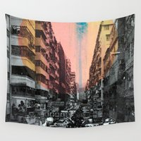 hong kong Wall Tapestries featuring Hong Kong Streets by jennymadeleine