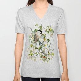chickadee and dogwood, chickadee art design floral Unisex V-Neck