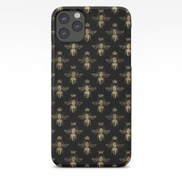 Black & Gold Queen Bee Pattern iPhone Case