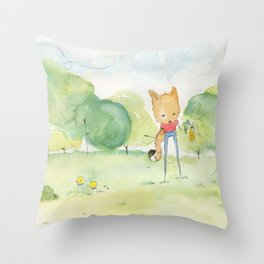 Fox in the park Throw Pillow