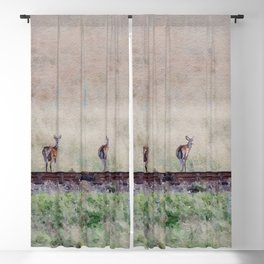 Little deers on a railway - Watercolor painting Blackout Curtain