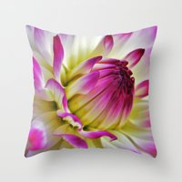 dahlia Throw Pillows featuring Dahlia by Astrid Ewing