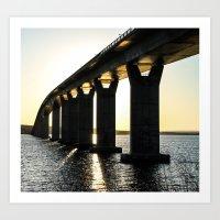 Jamestown Bridge Underglow, RI Art Print