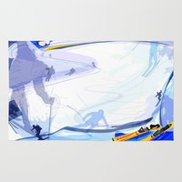 skiing Area & Throw Rugs featuring Downhill Skiing by Robin Curtiss