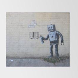 Banksy Robot (Coney Island, NYC) Throw Blanket