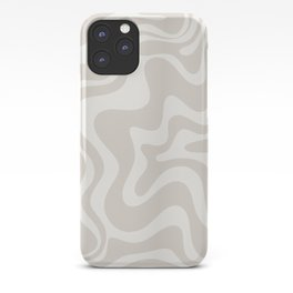 Liquid Swirl Contemporary Abstract Pattern in Mushroom Cream iPhone Case