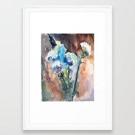 Watercolor blue flowers Framed Art Print