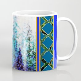 WESTERN  BLUE FOREST WATER COLOR TEAL PATTERN ART Coffee Mug