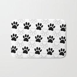 Black And White Dog Paw Print Pattern Bath Mat