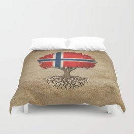 Vintage Tree of Life with Flag of Norway Duvet Cover