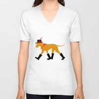 great dane V-neck T-shirts featuring Wanderlust Great Dane by Doggen im Haus