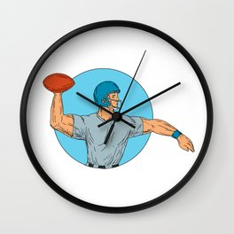 Quarterback QB Throwing Ball Motion Circle Drawing Wall Clock