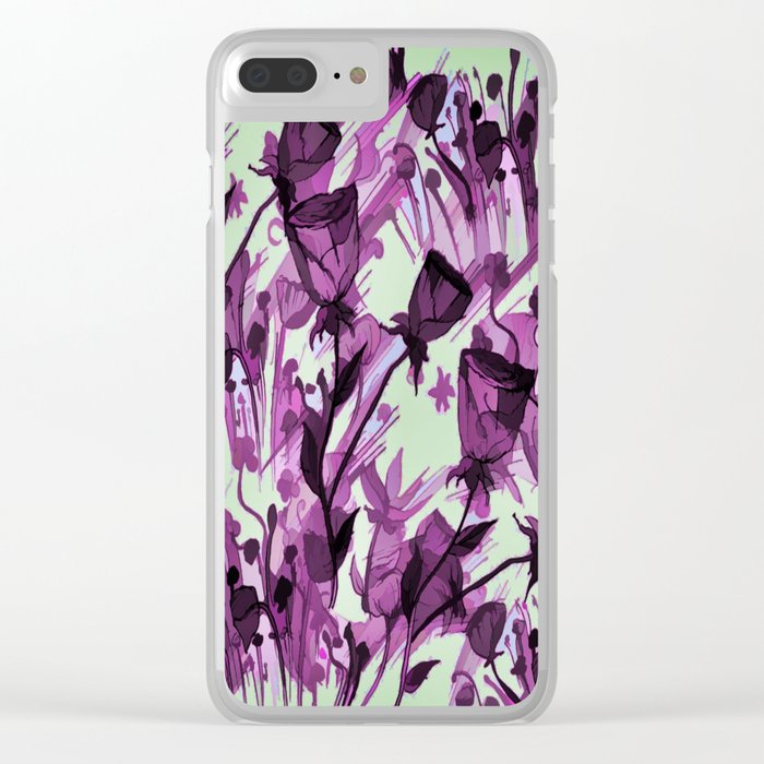 Painterly Graceful Flowing Flowers Clear iPhone Case
