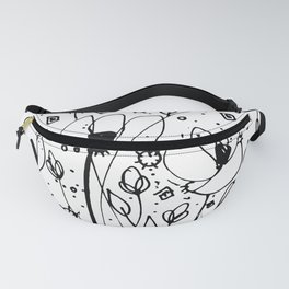Scribble Doodle Flowers No.6A by Kathy Morton Stanion Fanny Pack