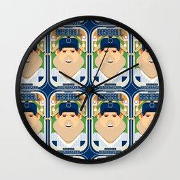 Baseball Blue Pinstripes - Rhubarb Pitchbatter - Josh version Wall Clock