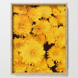 Bright Golden Holiday Mums Serving Tray