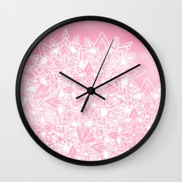 Modern white floral lace mandala pink watercolor illustration pattern Wall Clock