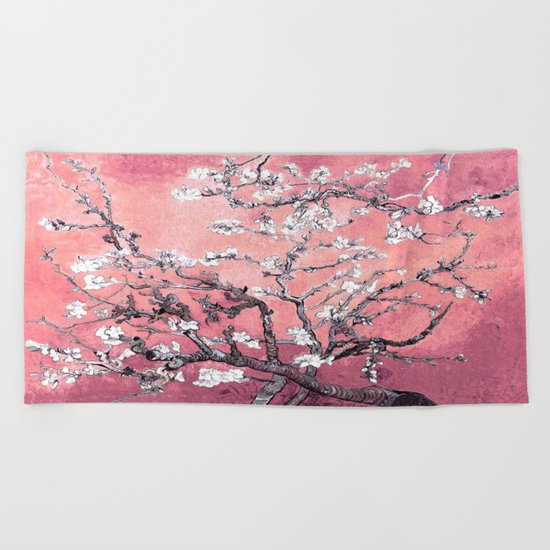 Van Gogh Almond Blossoms : Peachy Pink Beach Towel