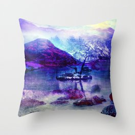 Abstract Winter Lake Throw Pillow