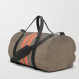 Vintage Hipster Retro Design - Brown Leather with Gold and Orange Stripes Duffle Bag
