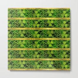 Irish Shamrock -Clover Gold and Green pattern Metal Print