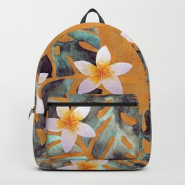 Tropical Monstera Leaf and Plumeria Flower Pattern Backpack