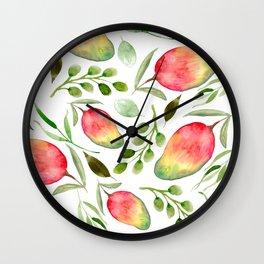 Watercolor Mangos | Fruit | Greenery | Pattern Wall Clock