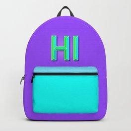 """""""HI"""" 3D Letters (Deep Violet Purple, Mint Green) Backpack"""
