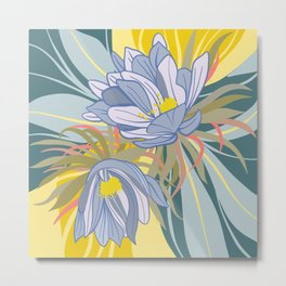 Night Blooming Cereus, Digital Painting, Wall art botanical poster Metal Print