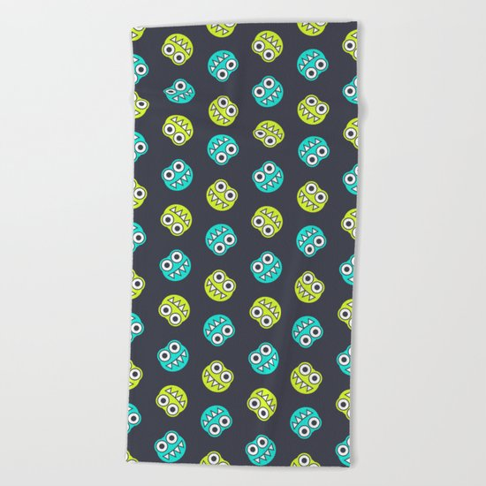 Blue Green Cute Bugs Pattern Beach Towel