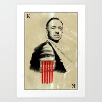 frank underwood Art Prints featuring Frank Underwood House of Cards poster Kevin Spacey print by Lautstarke