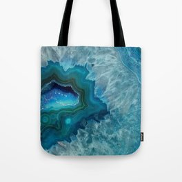 Teal Druzy Agate Quartz Tote Bag