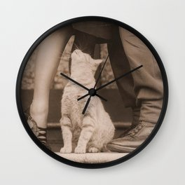 It's Love! Vintage Couple With Kitty Wall Clock
